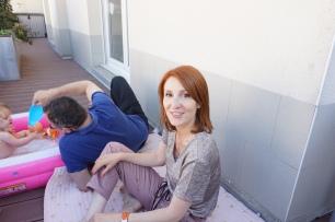 Violette, Dominique et Anne-Claire sur la terrasse
